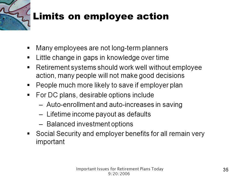 Limits on employee action