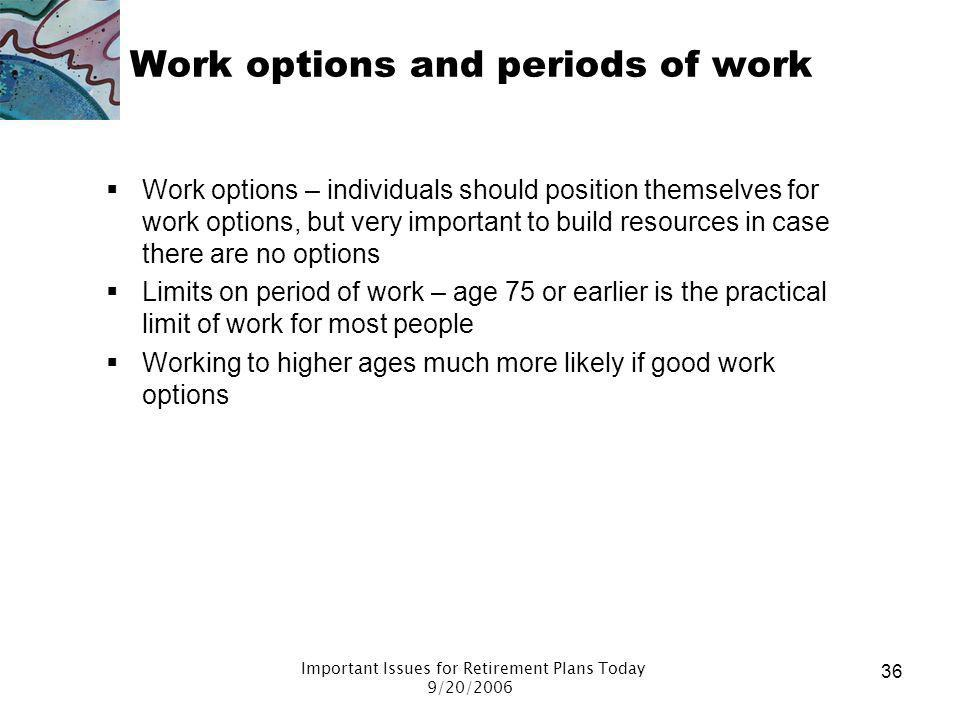 Work options and periods of work