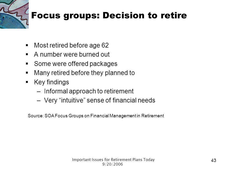 Focus groups: Decision to retire