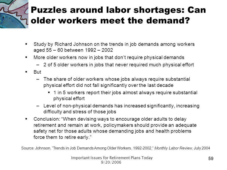 Puzzles around labor shortages: Can older workers meet the demand