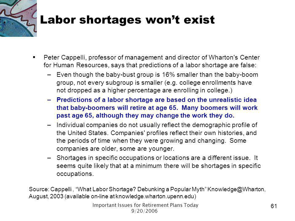 Labor shortages won't exist