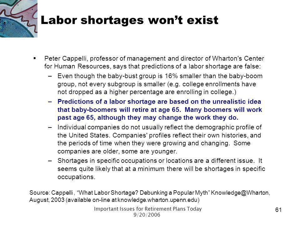 Labor shortages won't exist