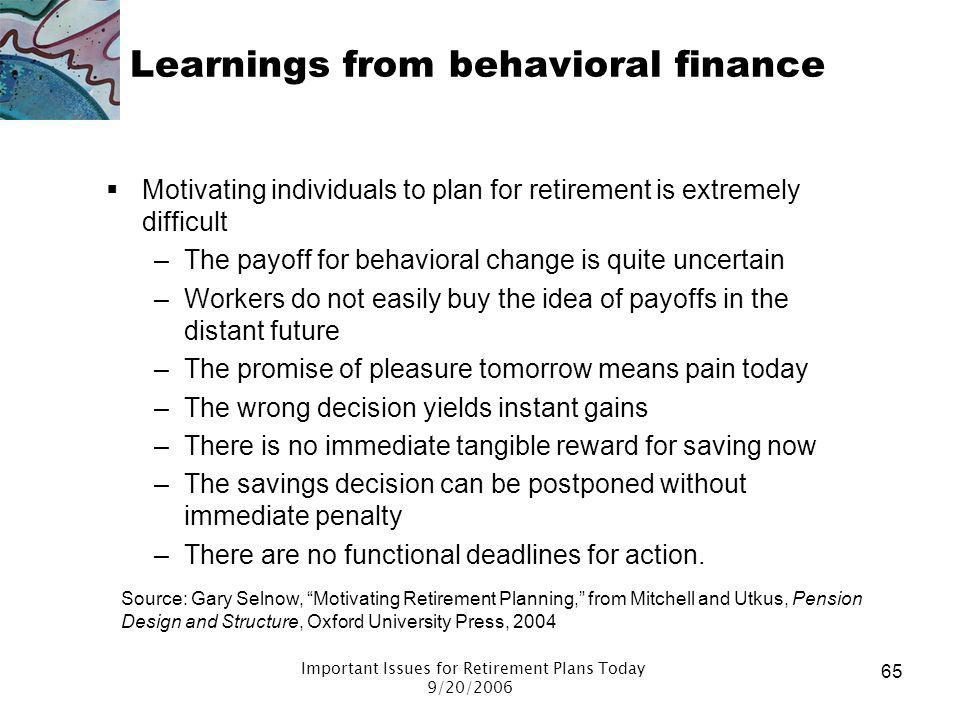 Learnings from behavioral finance