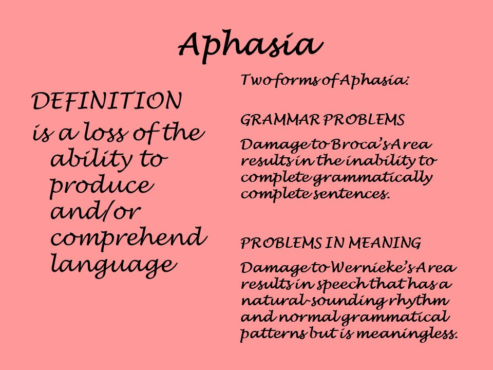 Aphasia Two forms of Aphasia: GRAMMAR PROBLEMS. Damage to Broca's Area results in the inability to complete grammatically complete sentences.