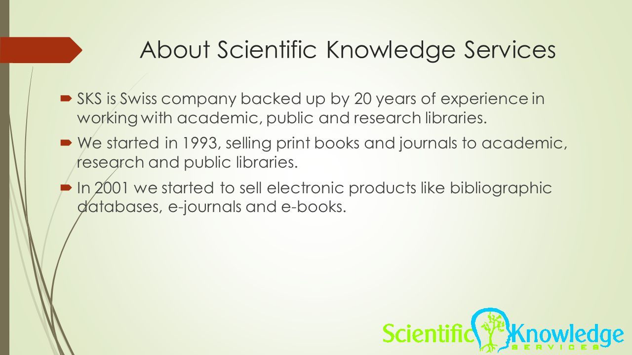 About Scientific Knowledge Services
