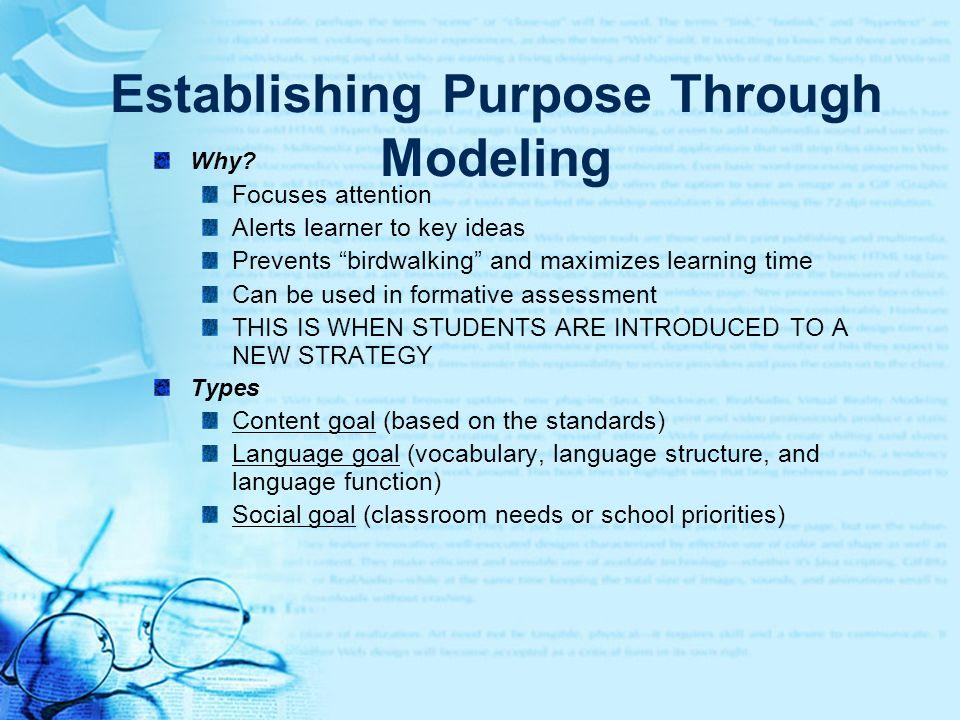 Establishing Purpose Through Modeling