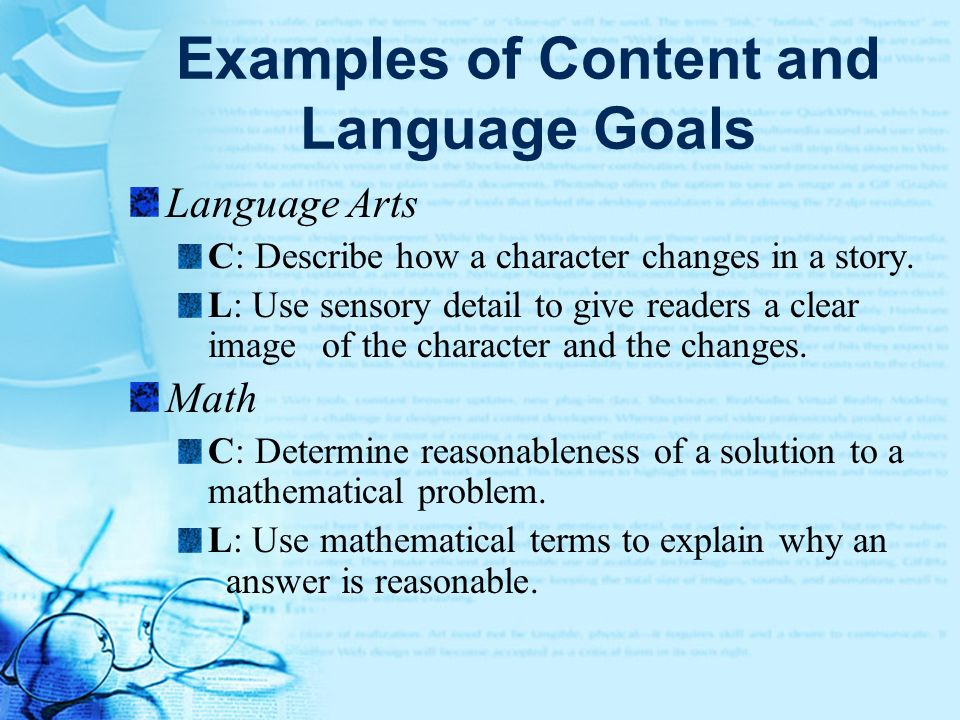 Examples of Content and Language Goals