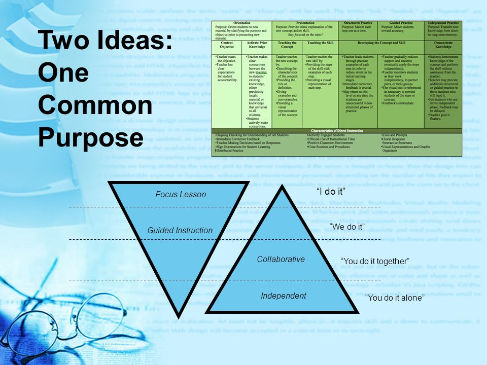 Two Ideas: One Common Purpose I do it Focus Lesson