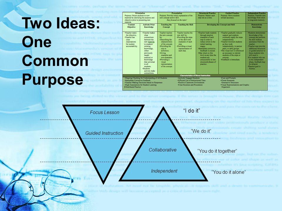Two Ideas: One Common Purpose I do it Focus Lesson