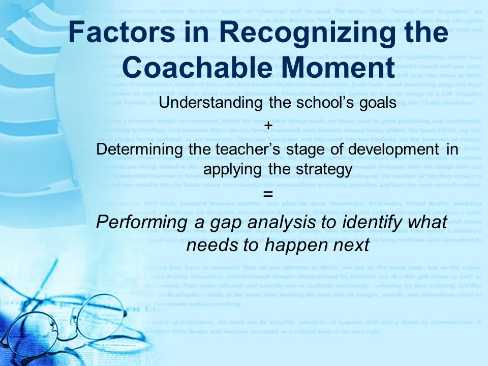 Factors in Recognizing the Coachable Moment