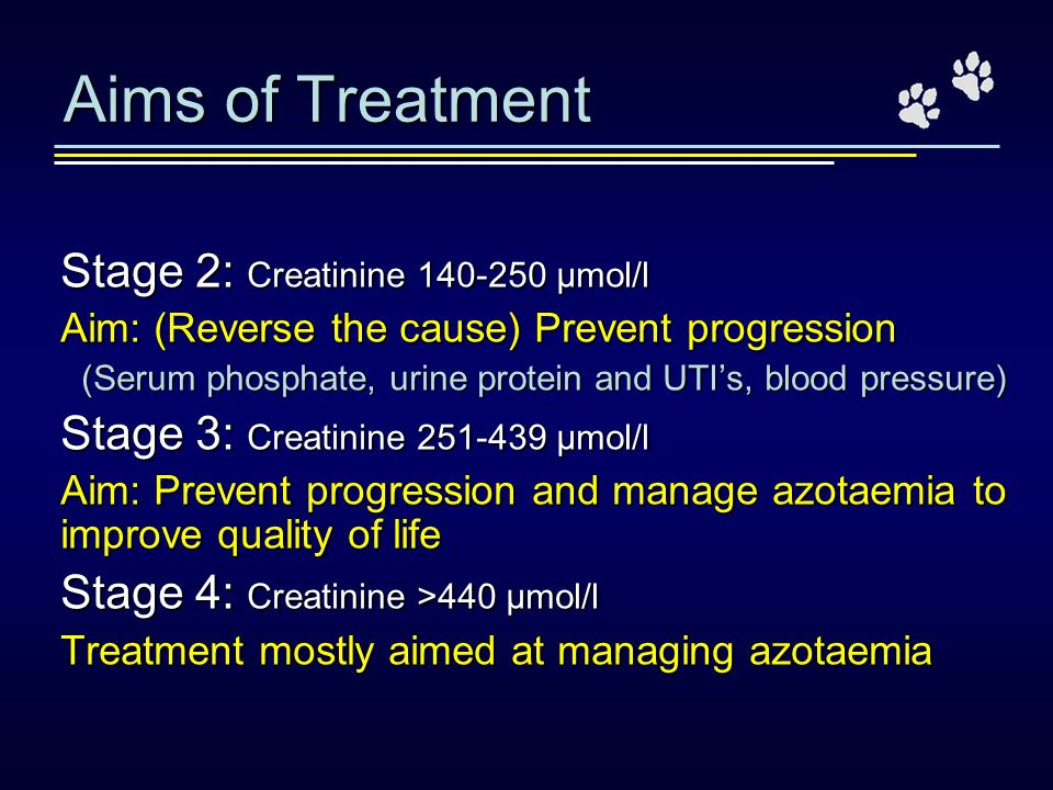 Aims of Treatment Stage 2: Creatinine 140-250 μmol/l