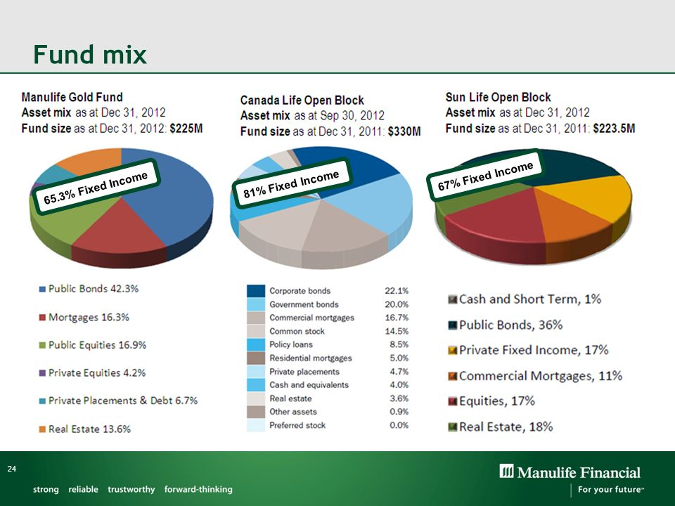 Fund mix 67% Fixed Income 65.3% Fixed Income 81% Fixed Income