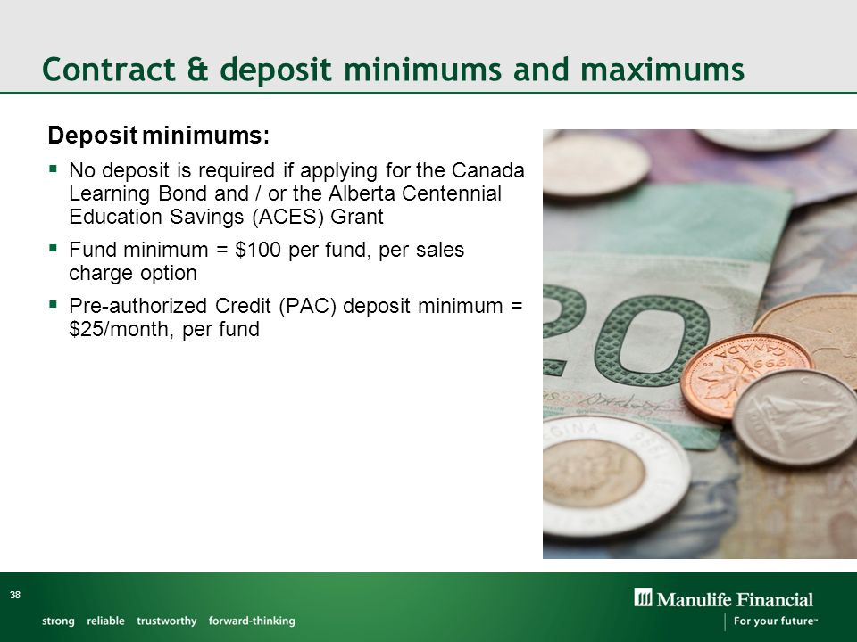 Contract & deposit minimums and maximums