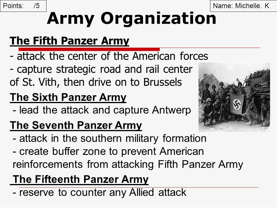 Army Organization The Fifth Panzer Army