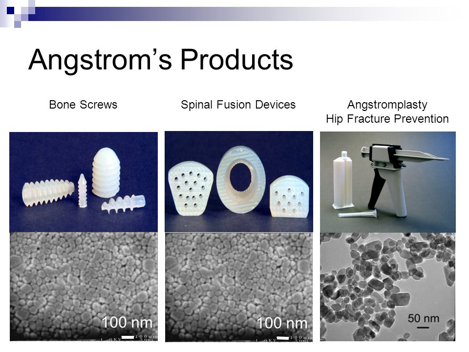 Angstrom's Products 100 nm 100 nm Bone Screws Spinal Fusion Devices