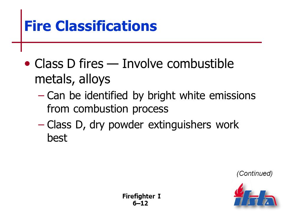 Fire Classifications Class D fires — Involve combustible metals, alloys. Can be identified by bright white emissions from combustion process.