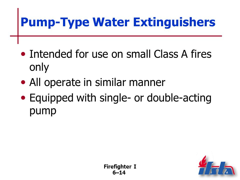 Pump-Type Water Extinguishers