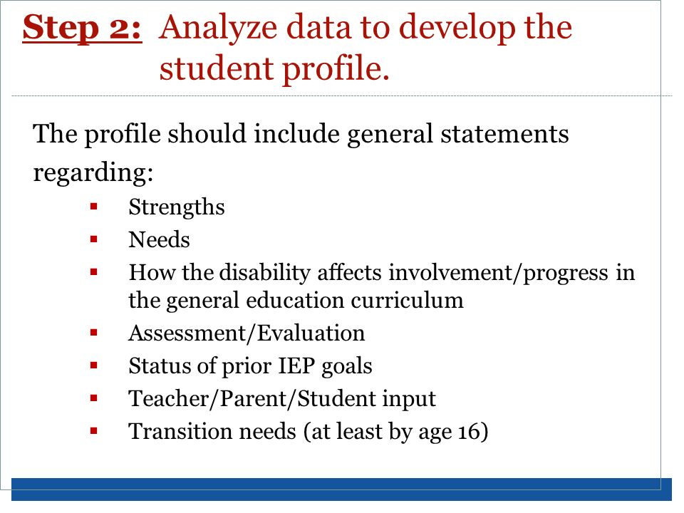 Step 2: Analyze data to develop the student profile.