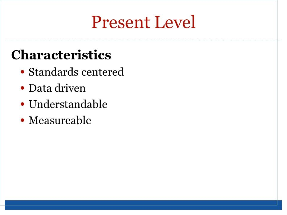 Present Level Characteristics Standards centered Data driven