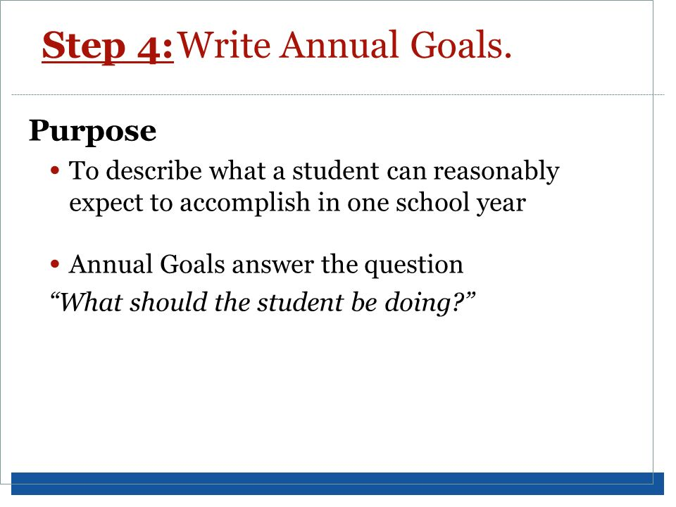 Step 4: Write Annual Goals.