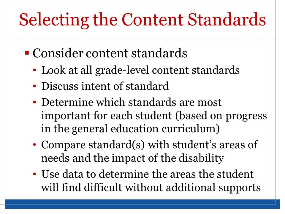 Selecting the Content Standards