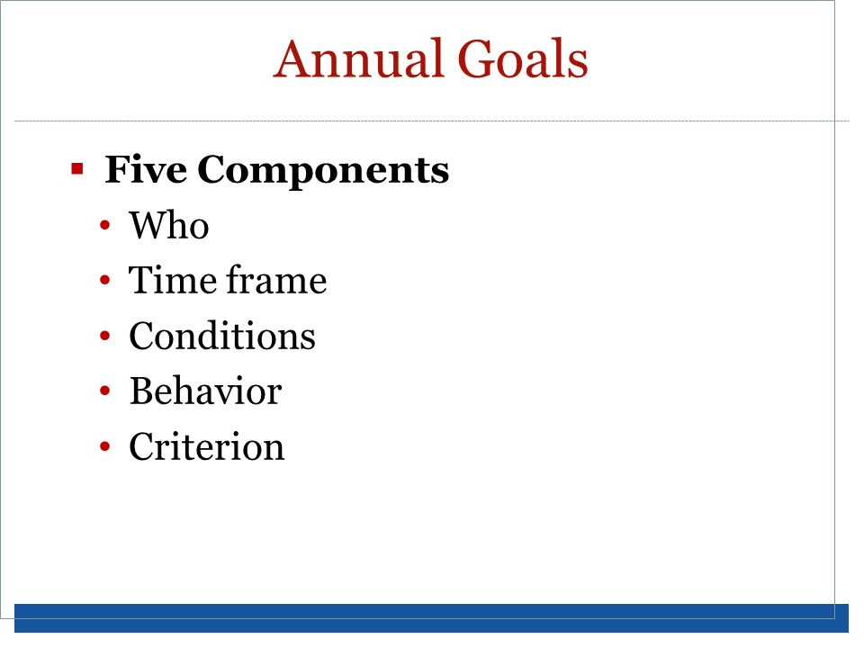 Annual Goals Five Components Who Time frame Conditions Behavior