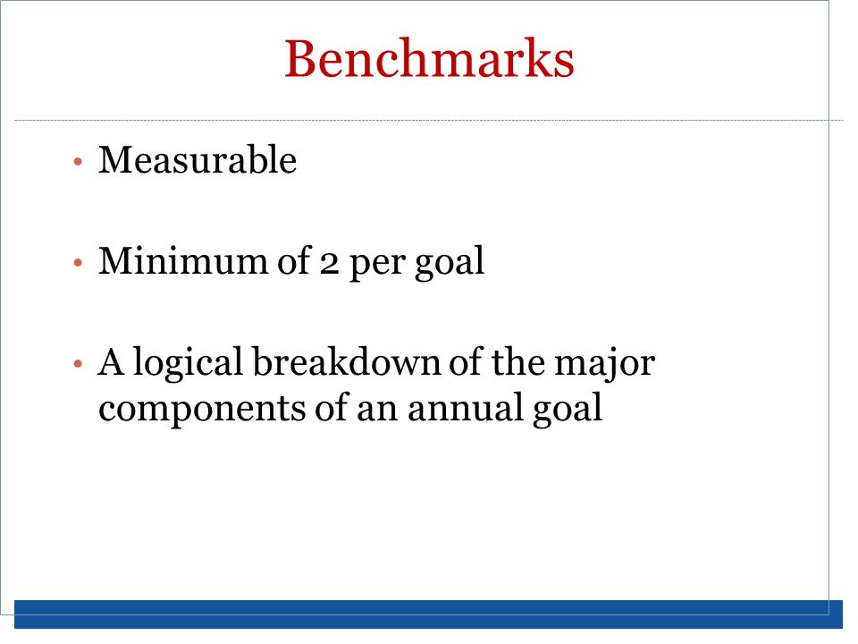 Benchmarks Measurable Minimum of 2 per goal