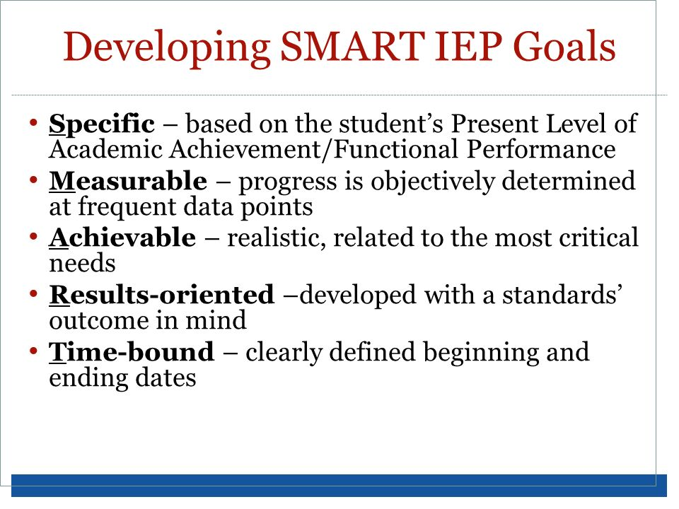 Developing SMART IEP Goals