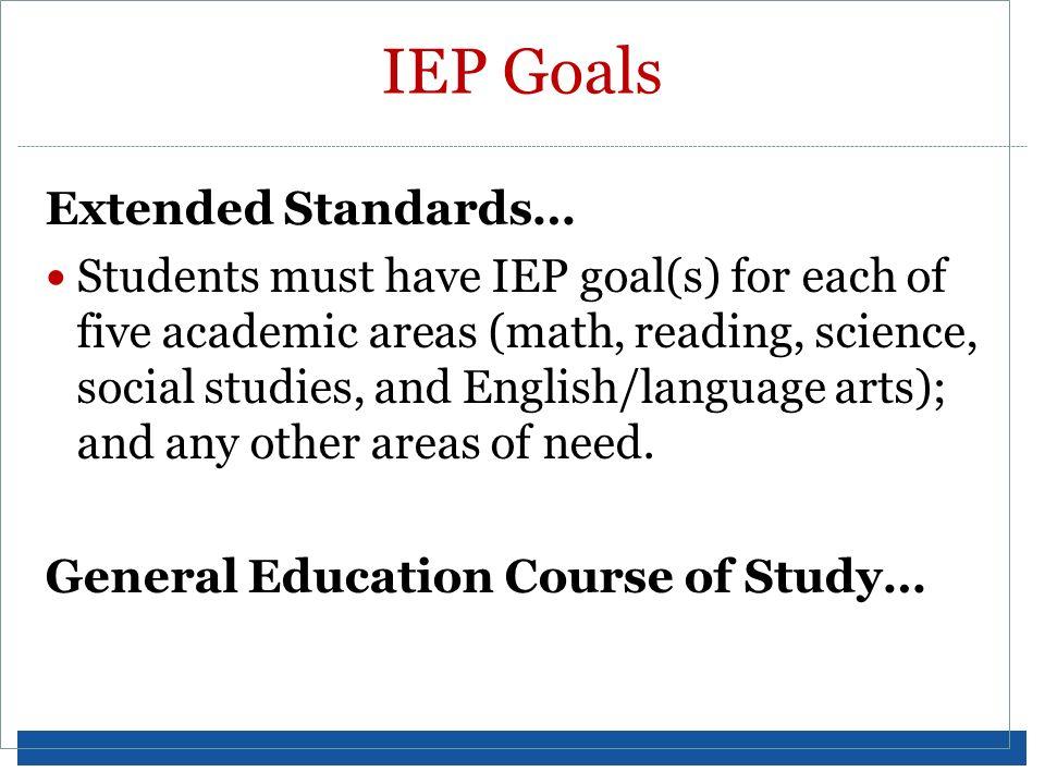 IEP Goals Extended Standards…