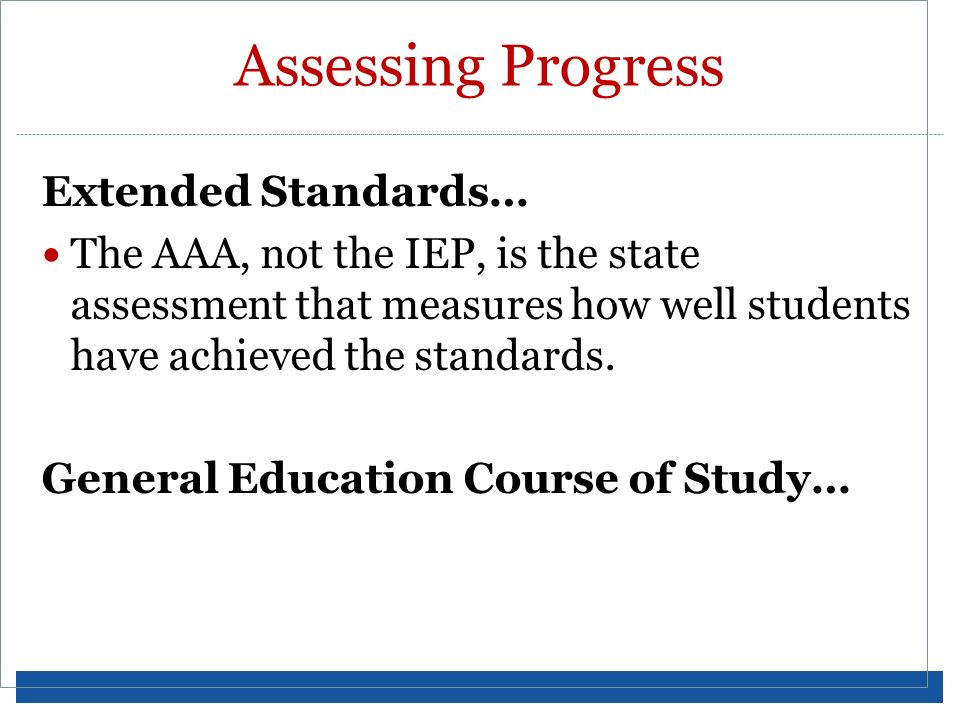 Assessing Progress Extended Standards…