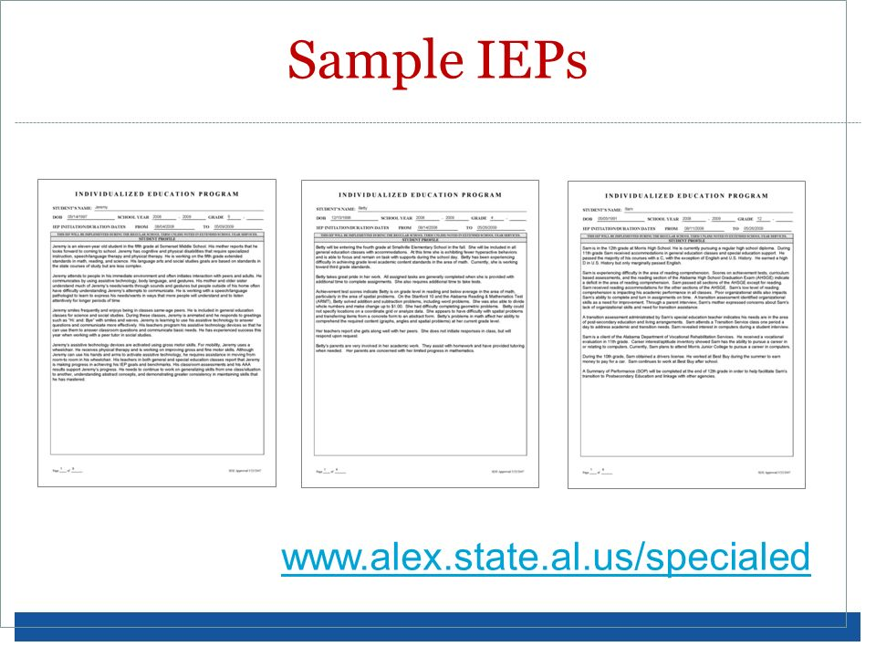 Sample IEPs www.alex.state.al.us/specialed Sample IEPs