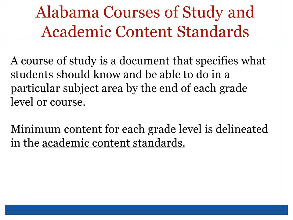 Alabama Courses of Study and Academic Content Standards