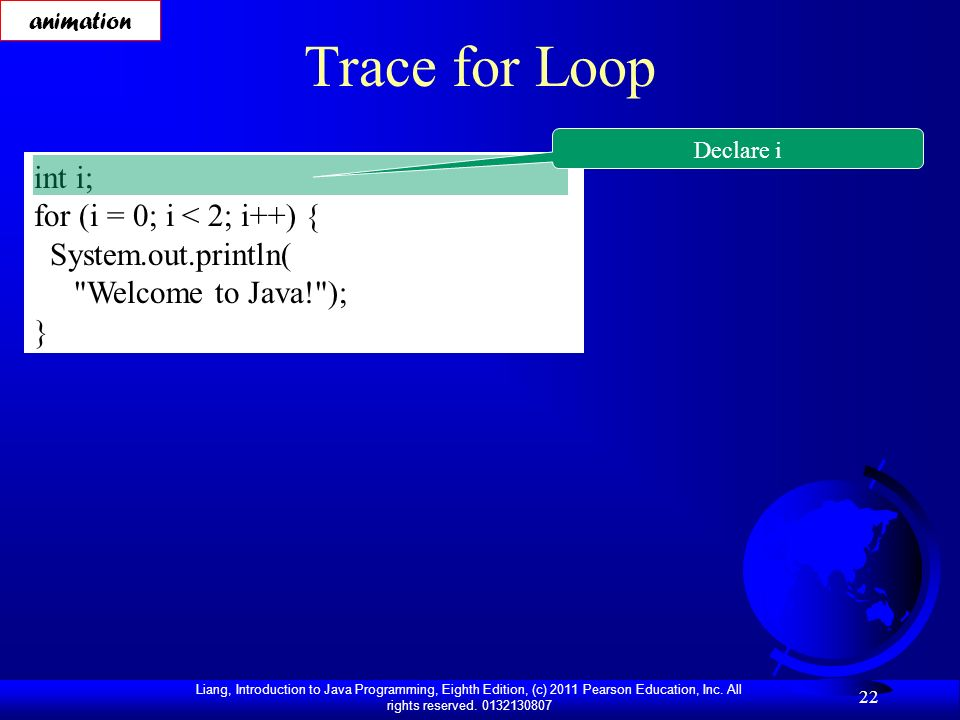 Trace for Loop int i; for (i = 0; i < 2; i++) { System.out.println(
