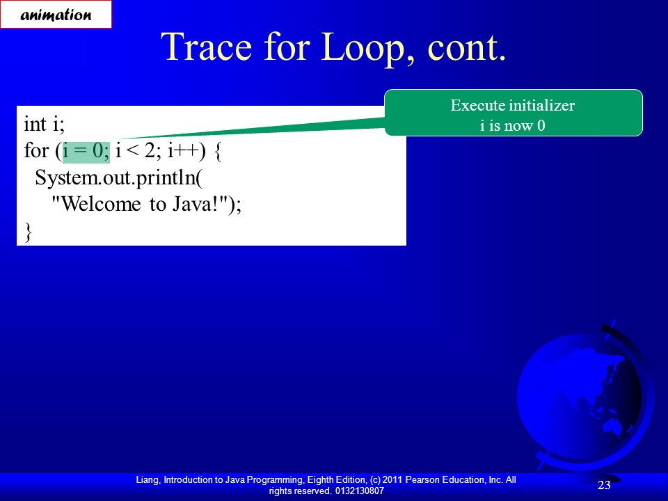 Trace for Loop, cont. int i; for (i = 0; i < 2; i++) {
