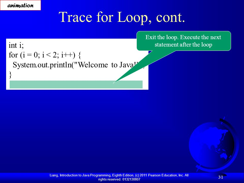 Exit the loop. Execute the next statement after the loop