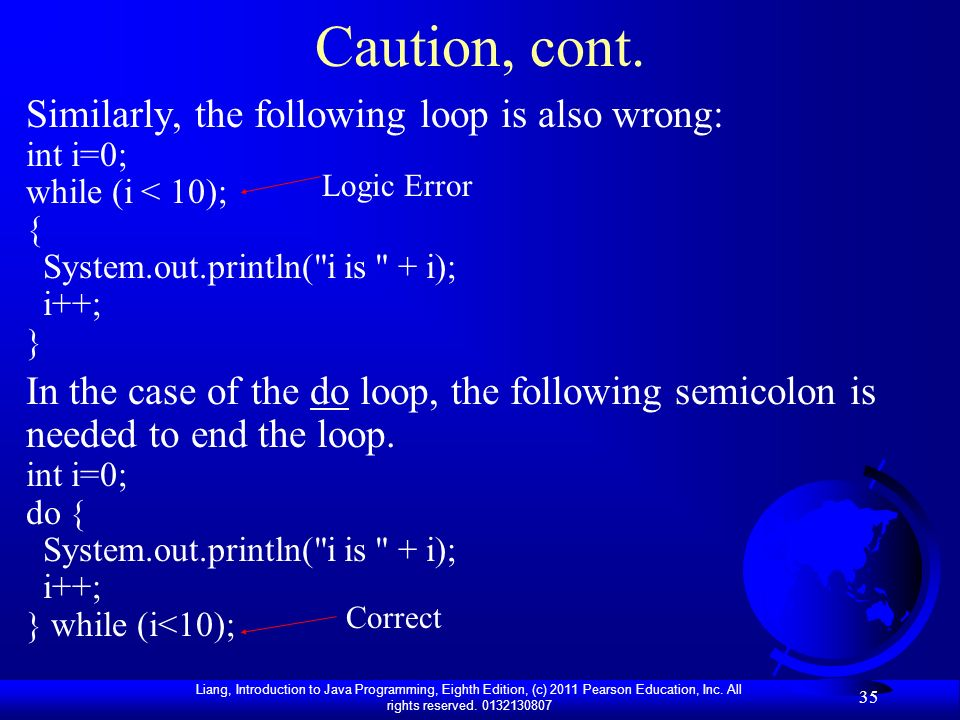 Caution, cont. Similarly, the following loop is also wrong: