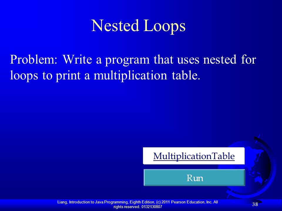Nested Loops Problem: Write a program that uses nested for loops to print a multiplication table.