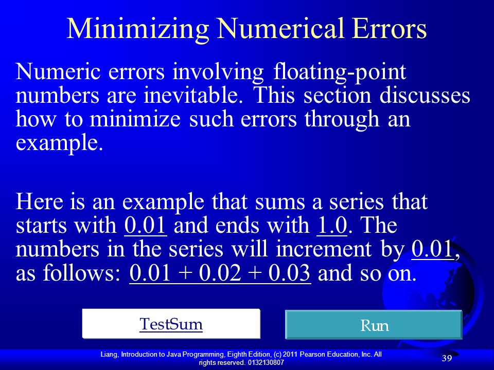 Minimizing Numerical Errors