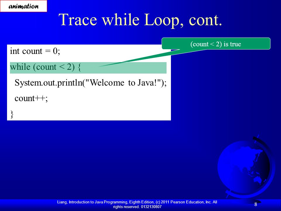 Trace while Loop, cont. int count = 0; while (count < 2) {