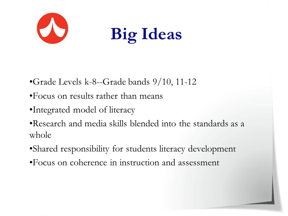 Big Ideas Grade Levels k-8--Grade bands 9/10, 11-12