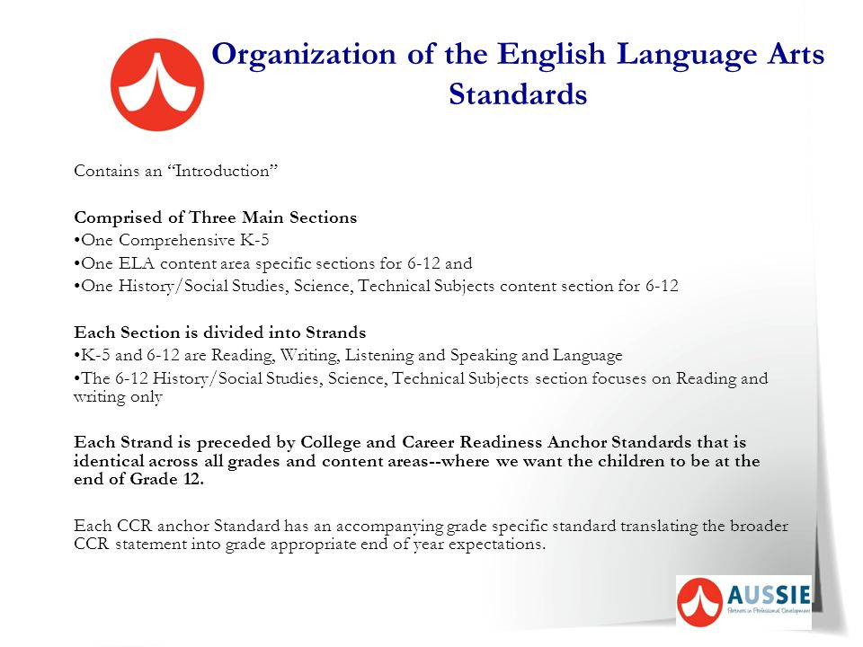 Organization of the English Language Arts Standards