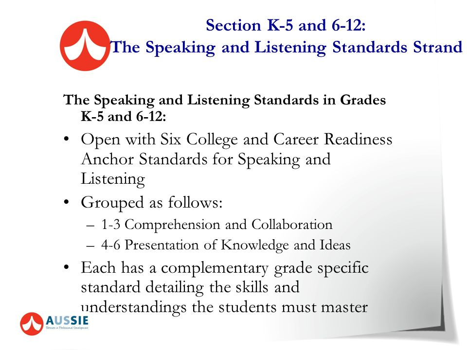 Section K-5 and 6-12: The Speaking and Listening Standards Strand