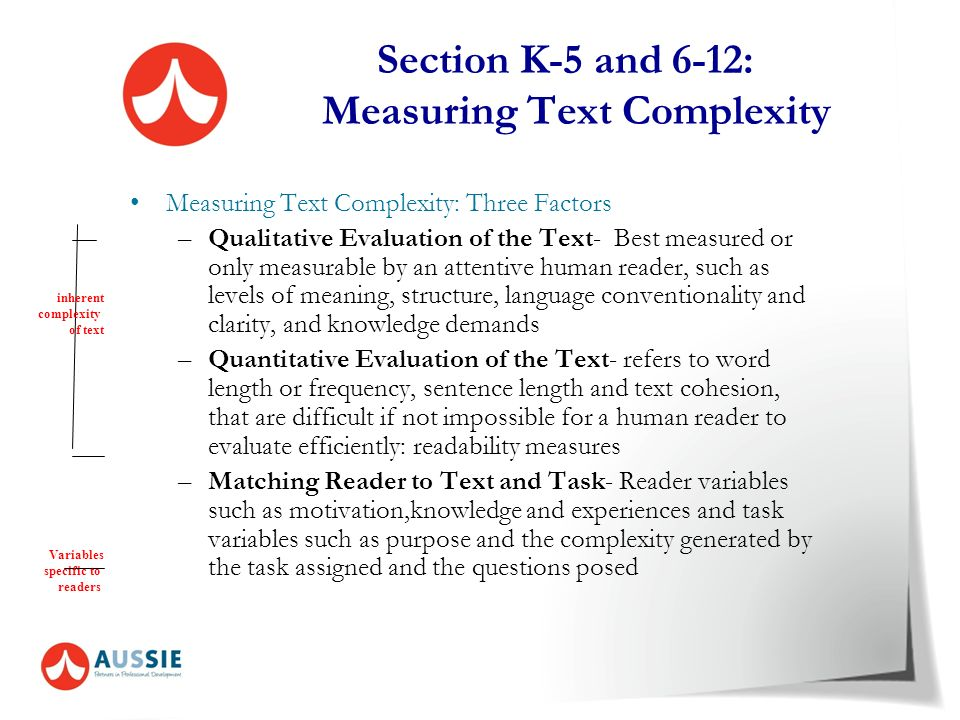 Section K-5 and 6-12: Measuring Text Complexity