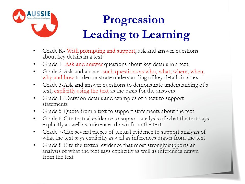 Progression Leading to Learning