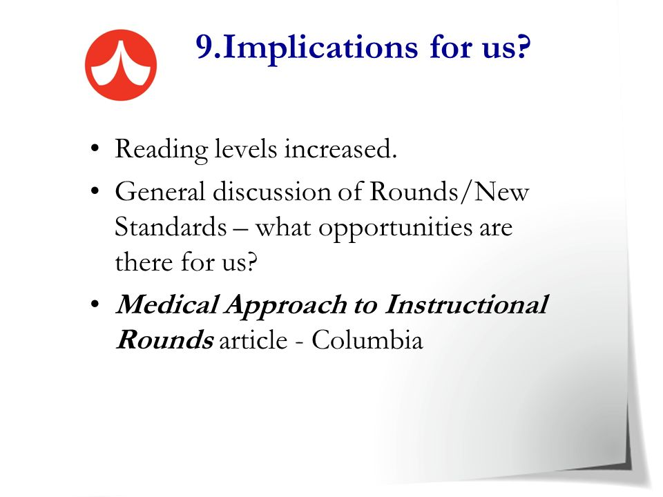 9.Implications for us Reading levels increased.
