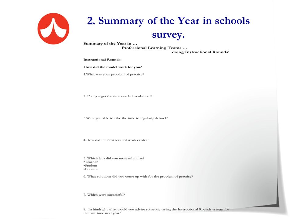 2. Summary of the Year in schools survey.