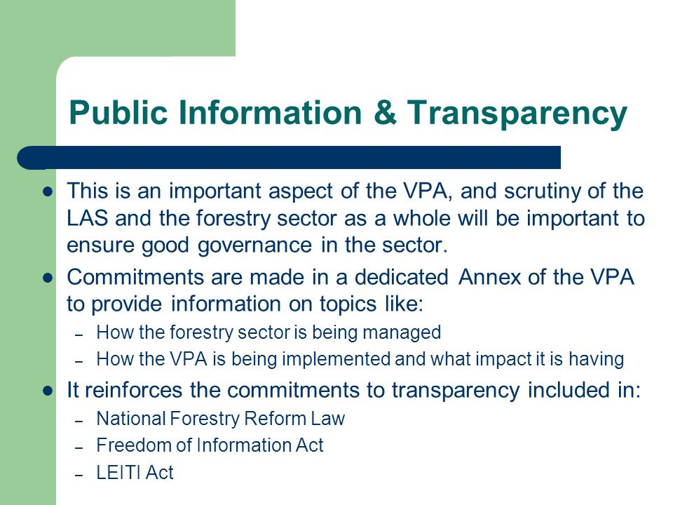 Public Information & Transparency