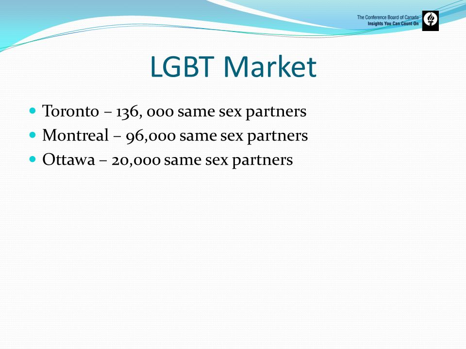 LGBT Market Toronto – 136, 000 same sex partners