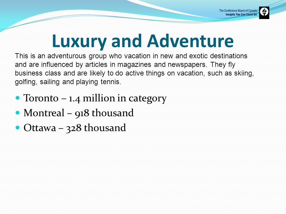 Luxury and Adventure Toronto – 1.4 million in category