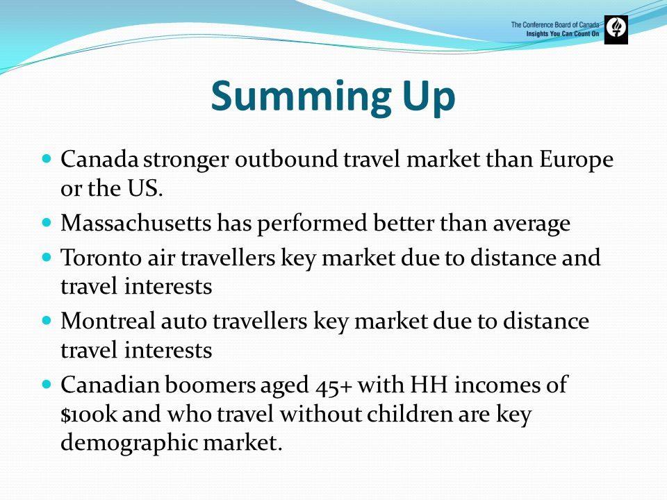 Summing UpCanada stronger outbound travel market than Europe or the US. Massachusetts has performed better than average.